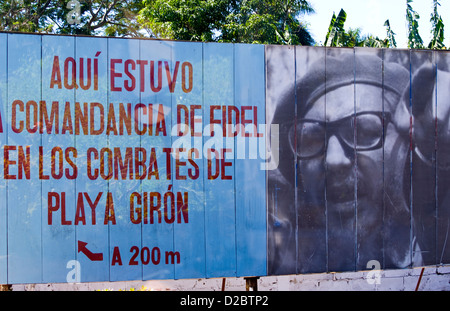 Billboard Celebrating Fidel Castro Victory At Bay Of Pigs Against Usa At Playa Giron In Cuba. - Stock Photo