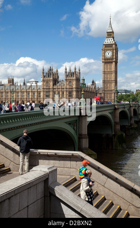 London, United Kingdom, Westminster Bridge, Houses of Parliament and Big Ben - Stock Photo