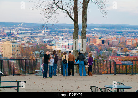 A group of tourists admiring the view of the city from Vulcan Park ,Birmingham, Alabama, USA, North America - Stock Photo