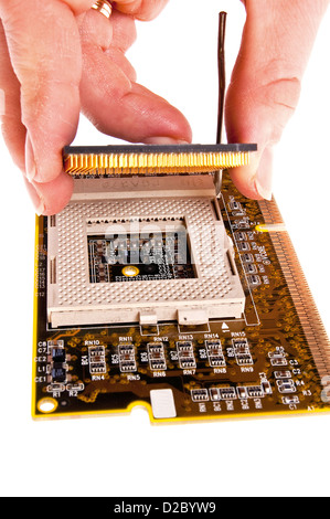 Installing computer CPU on the electronic board - Stock Photo