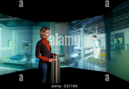 Dortmund, Germany, virtual factory of the future at the Museum DASA - Stock Photo