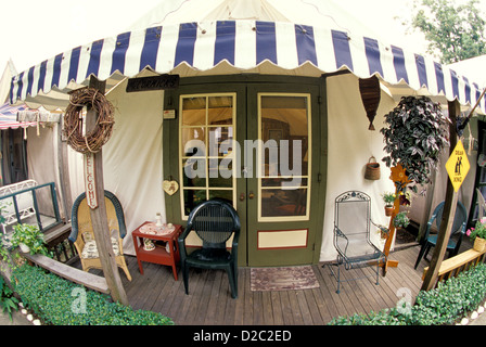 Ocean Grove. Methodist Tent Cabin With Striped Awning. - Stock Photo & New Jersey Ocean Grove Methodist Camp largest US Victorian ...