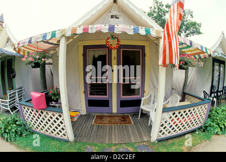 Ocean Grove. Methodist Tent Cabin With American Flags. - Stock Photo & New Jersey Ocean Grove Methodist Camp largest US Victorian ...