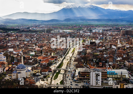 Prizren overview from the castle with Sar Mountains in background, Kosovo - Stock Photo
