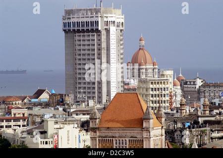 Aerial View Old Manglorean Tiled Buildings Backdrop New Old Hotel Taj Mahal In Bombay Now Mumbai Maharashtra India - Stock Photo