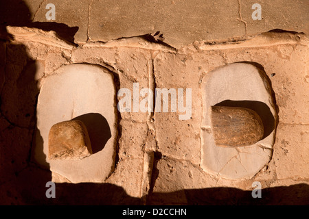 indian Millstones at Spruce Tree House, cliff dwelling of pre-Columbian Anasazi indians , Mesa Verde NP USA - Stock Photo