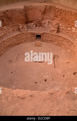 ruins of a kiva, room used for religious rituals of pre-Columbian Anasazi indians, Mesa Verde National Park in Colorado, - Stock Photo