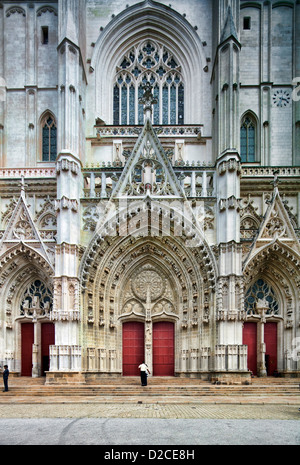 Nantes, France, the facade of the Saint Pierre Cathedral of Nantes - Stock Photo