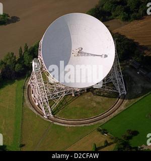 aerial view of Jodrell Bank radio telescope, Cheshire, UK - Stock Photo