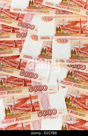 Russian rubles banknotes as background - Stock Photo