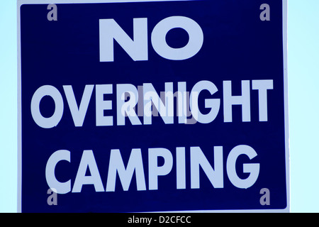 a no overnight camping sign - Stock Photo