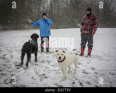 Two people with their dogs on a white, snowy day - Stock Photo