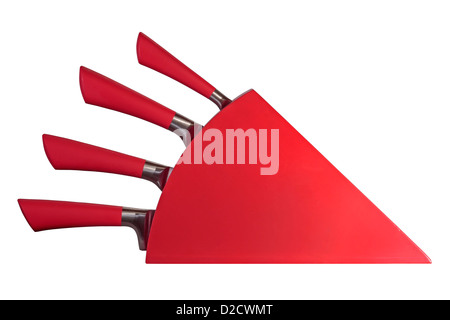 Red knife block isolated on white background - Stock Photo