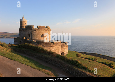 View of Tudor castle overlooking Falmouth Bay in evening sunshine on Cornish south coast at St Mawes Cornwall England - Stock Photo