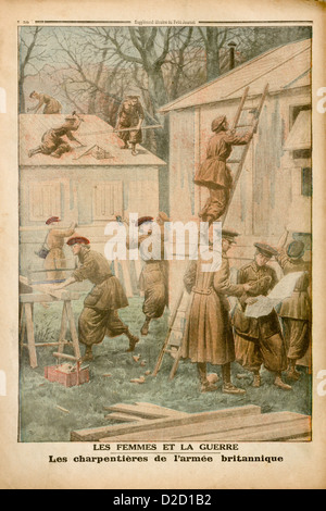 Le Petit Journal Illustrated Supplement (1917): Back cover showing female army carpenters constructing barracks - Stock Photo