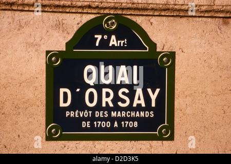 France. Paris. 7Th Arrondissement. Quai D'Orsay. Typical Street Sign. - Stock Photo