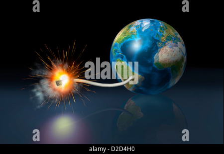 Global time bomb conceptual computer artwork - Stock Photo