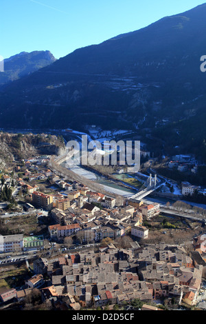 The village of Puget Theniers from above - Stock Photo
