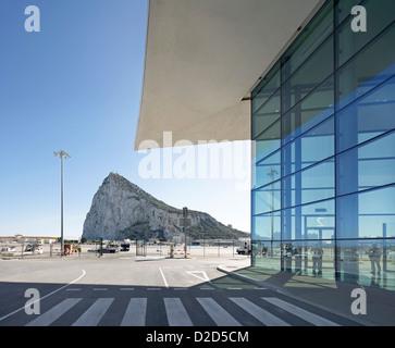 Gibraltar Airport, Gibraltar, United Kingdom. Architect: Bblur Architecture, 2012. Juxtaposition of building detail - Stock Photo