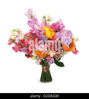Bouquet of colourful flowers cut out white background - Stock Photo
