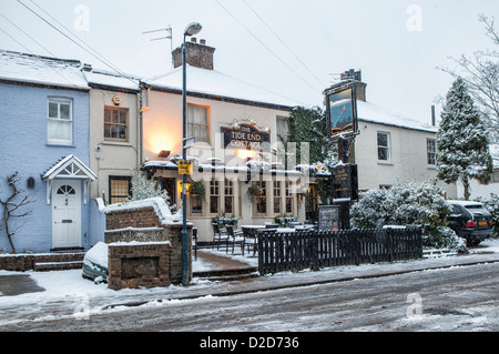 The Tide End Cottage exterior view - Typical English Pub in Ferry Road covered is snow  in winter.Teddington, Greater - Stock Photo