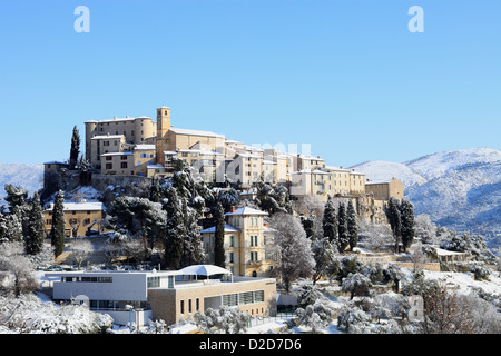 The French Riviera village of Carros under the snow - Stock Photo