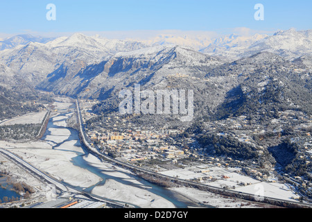 Top view above the Var valley under the snow - Stock Photo