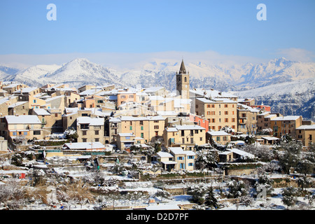 Village of the French Riviera under the snow - Stock Photo