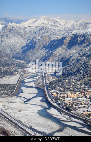 Aerial view of the Var valley under the snow - Stock Photo