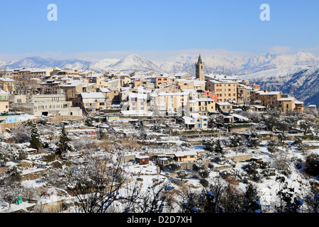 The French Riviera under the snow - Stock Photo
