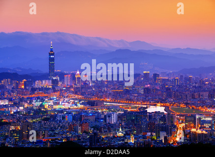 Taipei, Taiwan famed cityscape. - Stock Photo