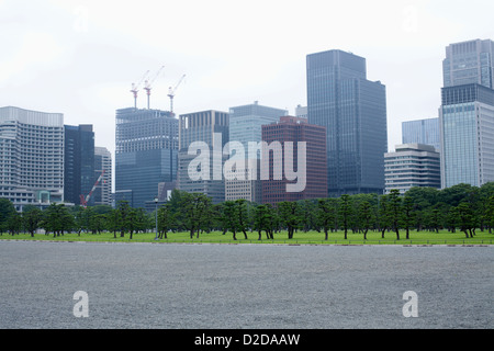 Skyscrapers in marunouchi business district viewed from outer gardens of Imperial Palace, Tokyo - Stock Photo