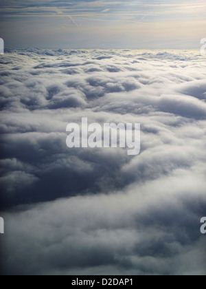 Pilots eye view above the clouds, shot over Shropshire, UK - Stock Photo