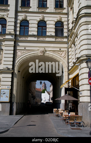 One of the few archways near the Gate of Dawn off Ausros Vartu Gatve in Vilnius old town in Vilnius,Lithuania,Baltic - Stock Photo