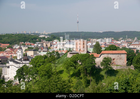 View from the Hill of the Three White Crosses of Vilnius in Lithuania  Baltic States - Stock Photo