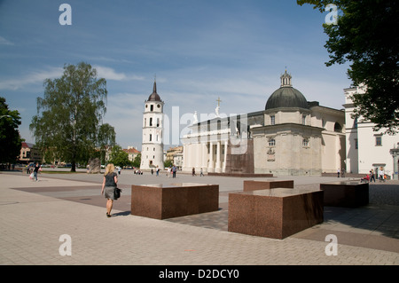 The Belfry and a monument of Lietuovs Didysis, Grand Duke Gediminas in Cathedral Square, Vilnius,Lithuania, Baltic - Stock Photo