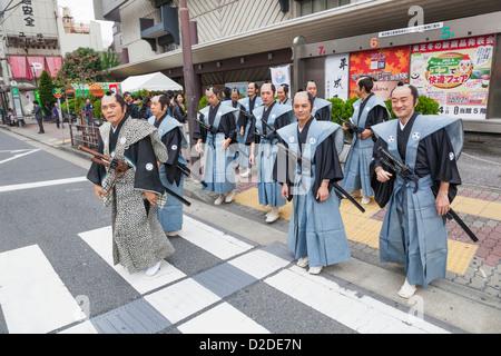 Japan, Honshu, Kanto, Tokyo, Asakusa, Jidai Matsurai Festival, Participants - Stock Photo