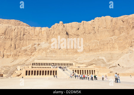 Many tourists visiting the restored Temple of Hatshepsut on the West bank of Luxor Egypt Middle East - Stock Photo