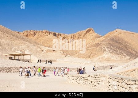 Entrance to the tomb of the pharaoh Rameses IV Valley of the Kings West bank of the river Nile near Luxor Egypt - Stock Photo