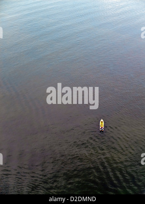 Malaysia, Borneo, Sandakan, South China Sea, Aerial view of a boat - Stock Photo