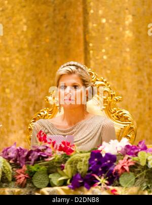 Crown princess Maxima of the Netherlands attends the State Banquet in Bandar Seri Begawan, Brunei Darussalam, 21 - Stock Photo