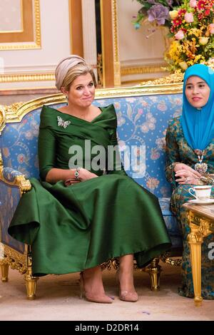Crown Princess Maxima of the Netherlands at the Istana Nurul Imam Palace in Bandar Seri Begawan, Brunei, 21 January - Stock Photo