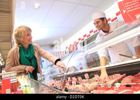 France, supermarket, customer. - Stock Photo
