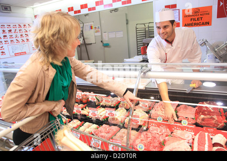 France, supermarket, customer. - Stock Photo