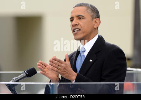 Jan. 21, 2013 - Washington, DC, U.S. - PRESIDENT BARACK OBAMA delivers his inaugural address in front of the U.S. - Stock Photo