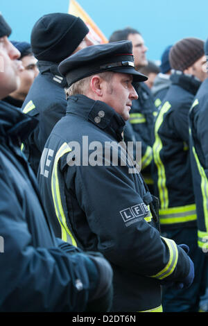 London, UK. 21st Jan, 2013. London firefighters hold a mass lobby of the London Fire and Emergency Planning Authority - Stock Photo