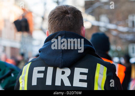 London, UK. 21st Jan, 2013. London firefighter at mass lobby of the London Fire and Emergency Planning Authority - Stock Photo