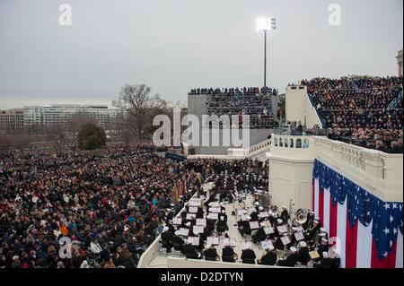 Jan. 21, 2013 - Washington, DC, U.S. - PRESIDENT BARACK OBAMA  delivers his second inaugural address at the U.S. - Stock Photo