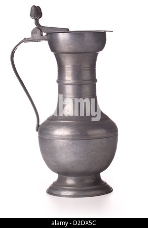 Antique pewter beer jug with lid on white background - Stock Photo