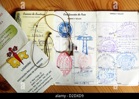 Berlin, Germany, the credential and the Jokobskreuz a pilgrim Way of St. James - Stock Photo